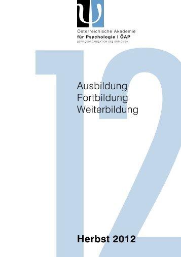 Herbst 2012 Ausbildung Fortbildung Weiterbildung - BÖP