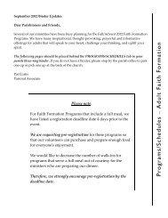 Programs/Schedules - Saint Patrick - Saint Anthony Church