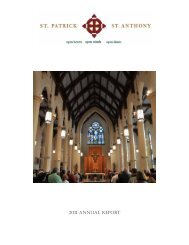 2011 ANNUAL REPORT - Saint Patrick - Saint Anthony Church