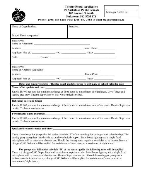 Theatre Rental Application Form Saskatoon Public Schools