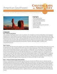 American Southwest Group Itinerary - Canyonlands By Night