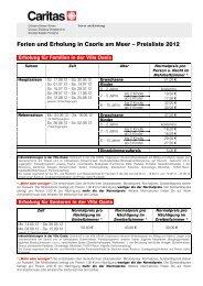 Ferien und Erholung in Caorle am Meer – Preisliste 2012