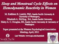 Sleep and Menstrual Cycle Effects on Hemodynamic Reactivity in ...