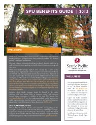 SPU BENEFITS GUIDE | 2013 - Seattle Pacific University