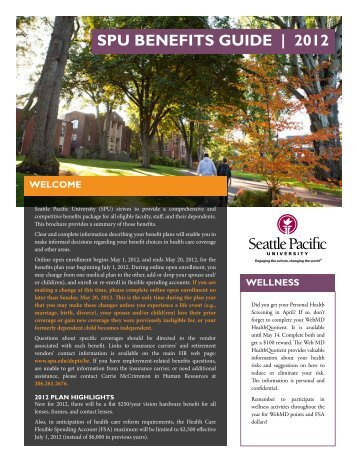 SPU BENEFITS GUIDE | 2012 - Seattle Pacific University