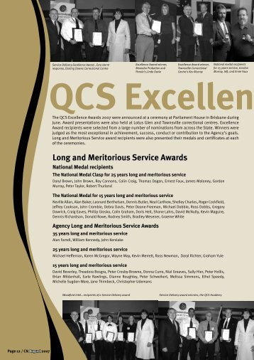Long and Meritorious Service Awards - Queensland  Corrective ...