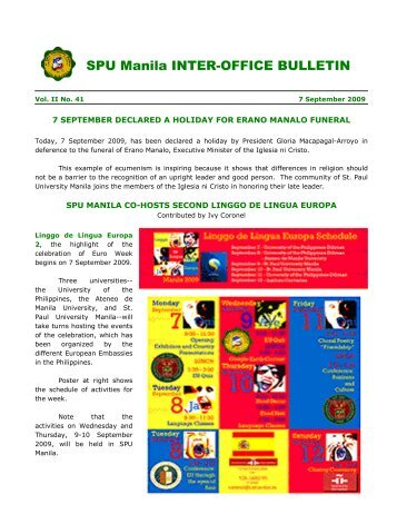 SPU Manila INTER-OFFICE BULLETIN - St. Paul University Manila