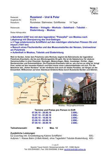 Russland – Ural & Polar - Sputnik Travel GmbH