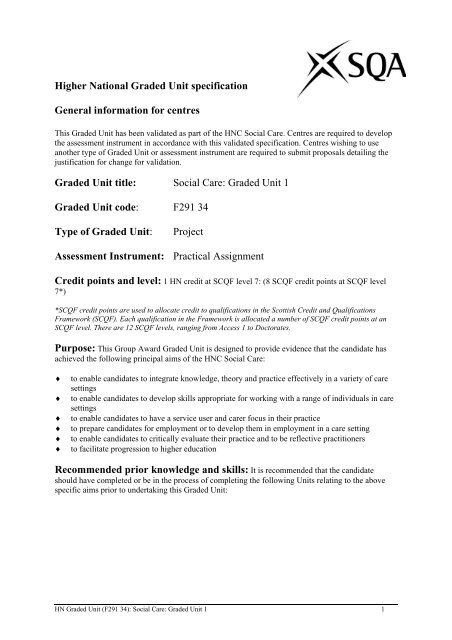 Social Care: Graded Unit 1 - Scottish Qualifications Authority