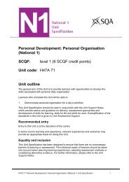 Personal Organisation (National 1) - Scottish Qualifications Authority