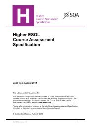 Higher ESOL Course Assessment Specification - Scottish ...