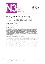 Working with Materials (National 3) - Scottish Qualifications Authority