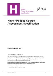Higher Politics Course Assessment Specification - Scottish ...
