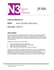 Literacy (National 3) SCQF: level 3 (6 SCQF credit points) Unit ... - SQA