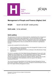 Management of People and Finance - Scottish Qualifications Authority