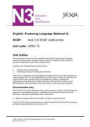 English: Producing Language (National 3) Unit Specification