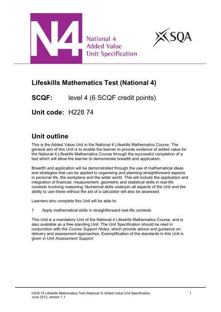 Lifeskills Mathematics Test - Scottish Qualifications Authority