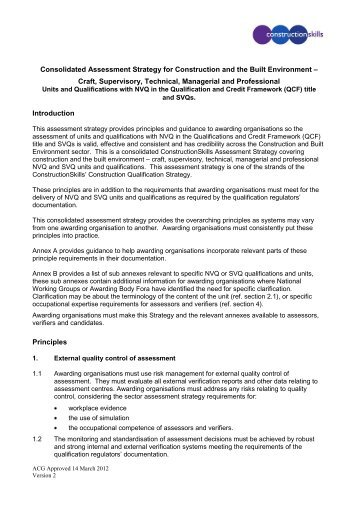 Consolidate Construction Assessment Strategy - Scottish ...