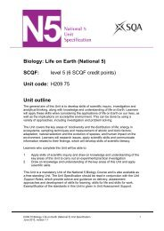 Biology: Life on Earth (National 5) - Scottish Qualifications Authority