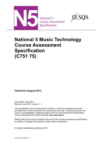 National 5 Music Technology Course Assessment Specification ...