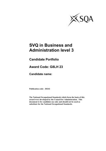 SVQ in Business and Administration level 3 - Scottish Qualifications ...
