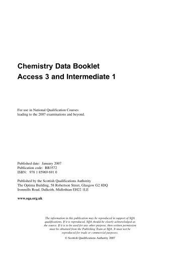 Chemistry Data Booklet Access 3 and Intermediate 1 - SQA