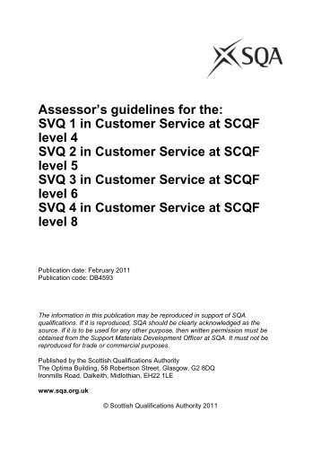 Customer Service at levels 1, 2, 3 and 4 - Scottish Qualifications ...