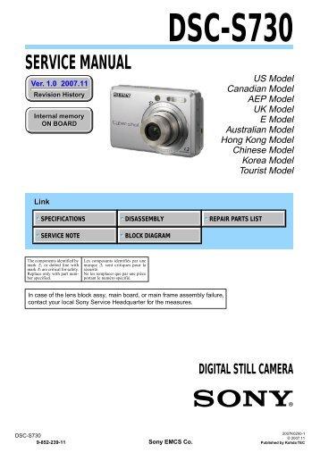 Service Manual of Sony DSC-S730 Digital Camera - SONYRUS