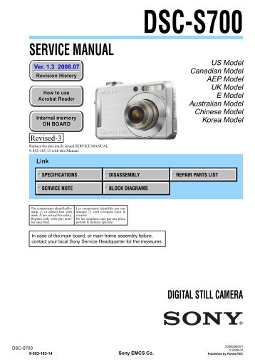 Service Manual of Sony DSC-S700 Digital Camera - SONYRUS