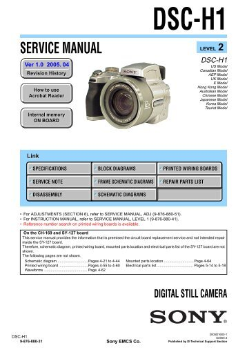 Service Manual of Sony DSC-H1 Digital Camera - SONYRUS