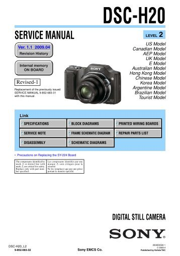 Service Manual of Sony DSC-H20 Digital Camera - SONYRUS