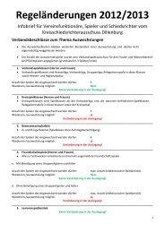 Regeländerungen 2012/2013 - Schiedsrichter Vereinigung Dillenburg