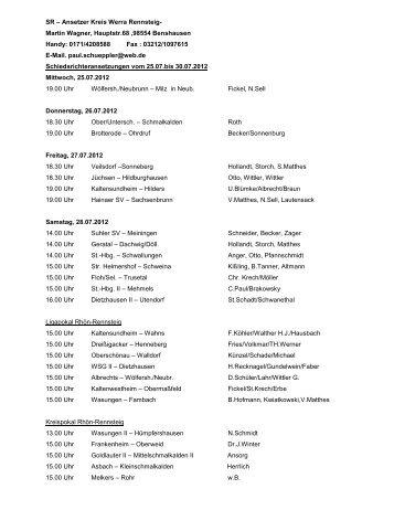 Schiedsrichter-Ansetzungen vom 25.07. bis 30.07.2012