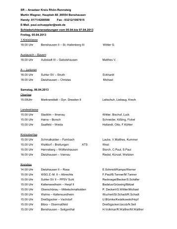 Schiedsrichter-Ansetzungen vom 05.04. bis 07.04.2013