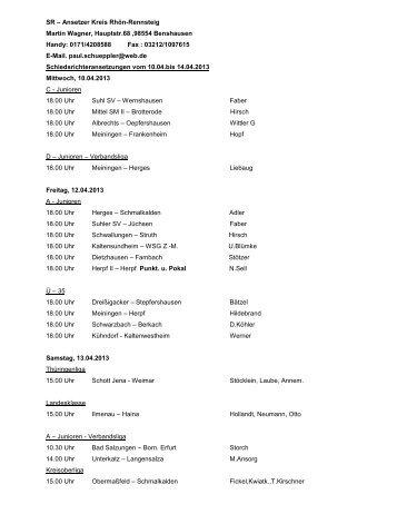 Schiedsrichter-Ansetzungen vom 10.04. bis 14.04.2013