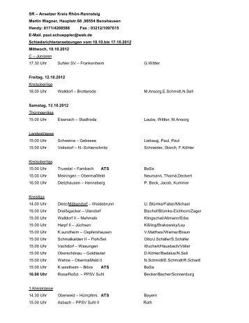 Schiedsrichter-Ansetzungen vom 11.10. bis 17.10.2012