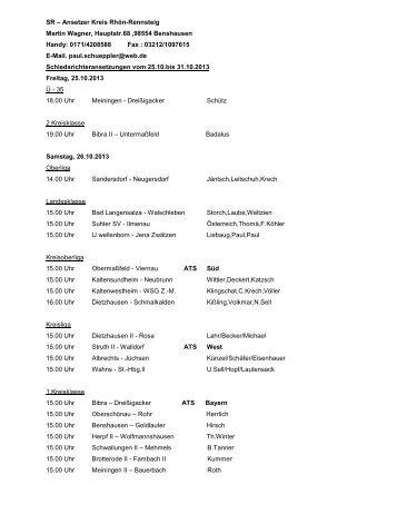 Schiedsrichter-Ansetzungen vom 25.10. bis 31.10.2013