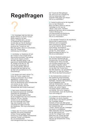 Regelfragen und Antworten 3