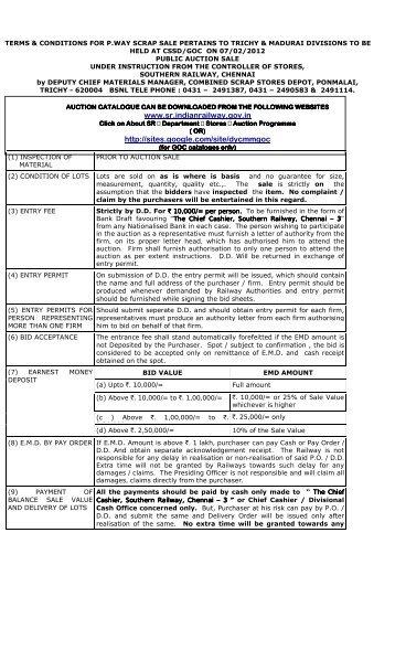 www.sr.indianrailway.gov.in http://sites.google.com/site/dycmmgoc