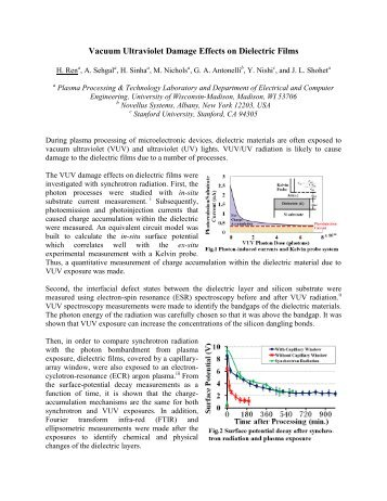 Vacuum Ultraviolet Damage Effects on Dielectric Films - Synchrotron ...