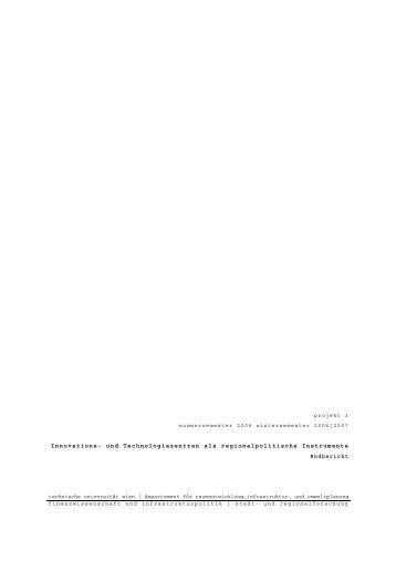 Endbericht - Fachbereich Stadt- und Regionalforschung ...