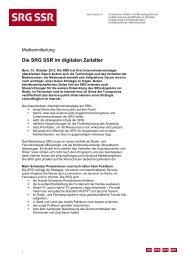 Die SRG SSR im digitalen Zeitalter