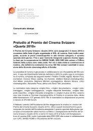Preludio al Premio del Cinema Svizzero «Quartz 2010» - SRG SSR