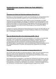 Zusatzerklärungen einzelner Artikel des Pacte 2009-2011 - SRG SSR