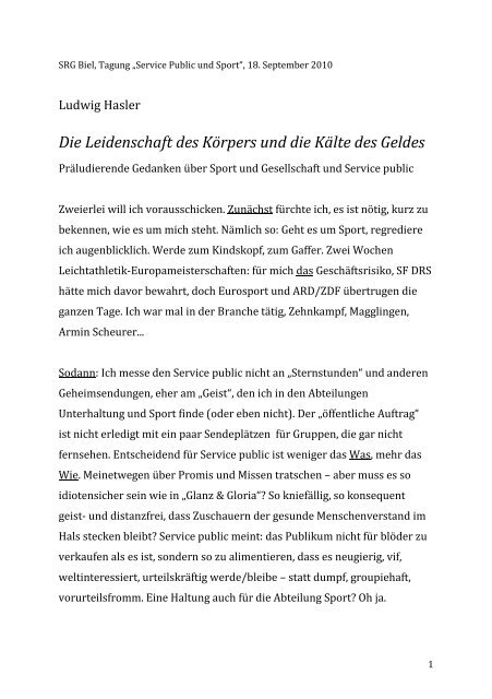 Ludwig Hasler - SRG SSR