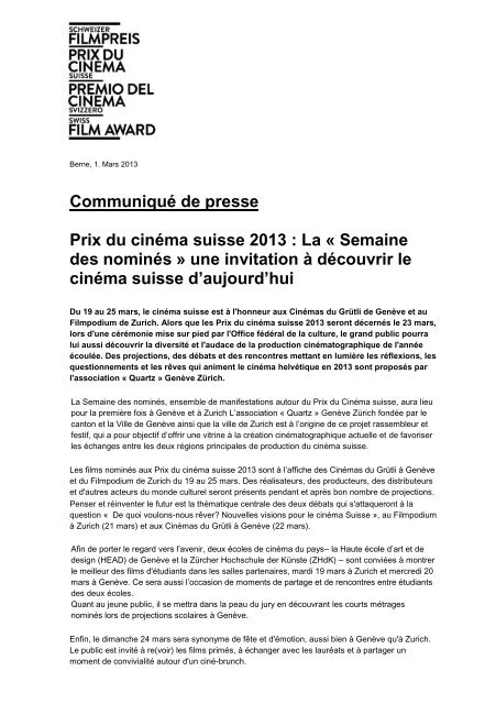 Communiqué de presse Prix du cinéma suisse 2013 : La ... - SRG SSR