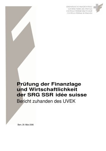 Bericht der Eidgenössischen Finanzkontrolle (EFK) 2006 - SRG SSR