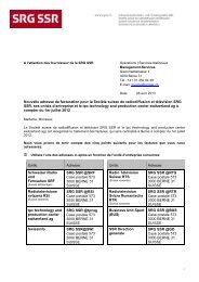 Nouvelle adresse de facturation pour la Société suisse ... - SRG SSR