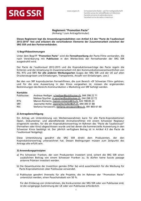 """Reglement """"Promotion Pacte"""" - SRG SSR"""