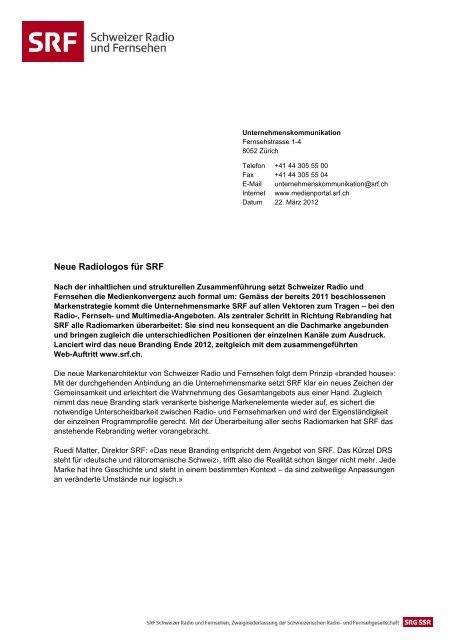 Neue Radiologos für SRF - SRG SSR